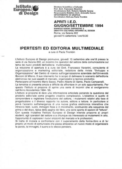 Ipertesti ed editoria multimediale -