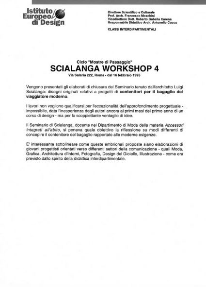 Luigi Scialanga. Workshop 4 -