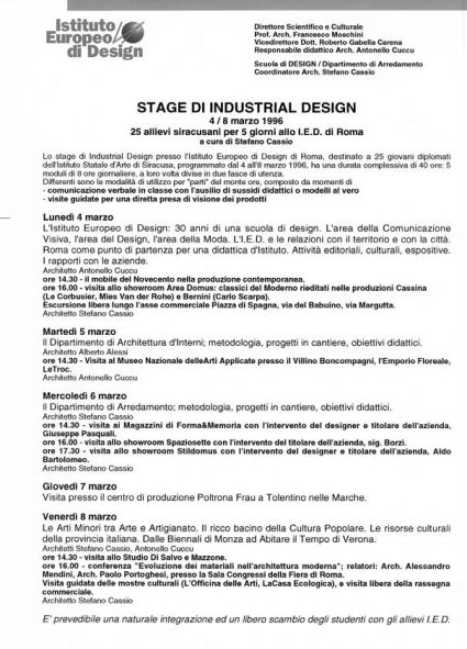 Stage di industrial design -