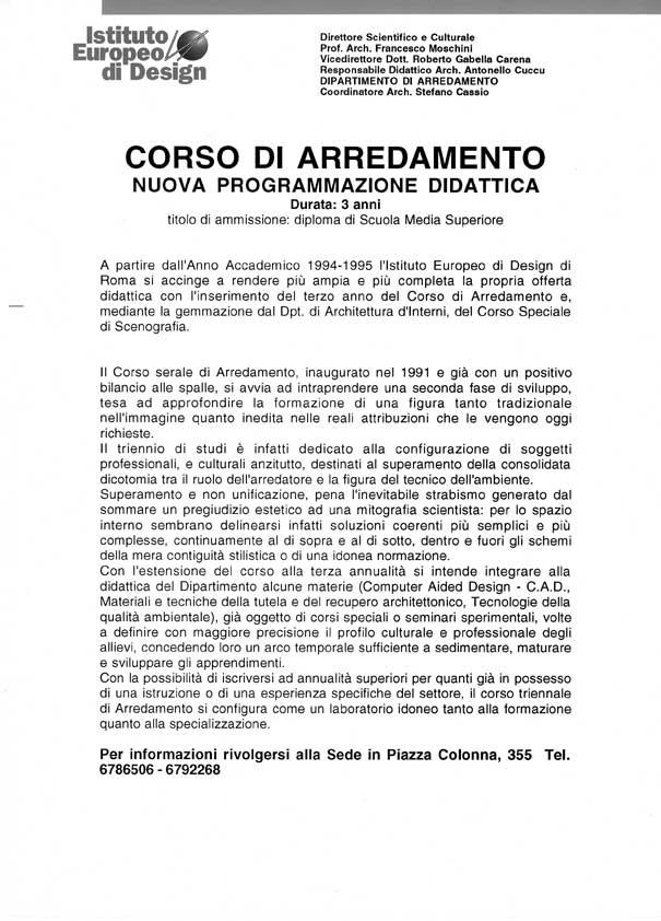 I e d istituto europeo di design roma attivit for Corso di arredamento
